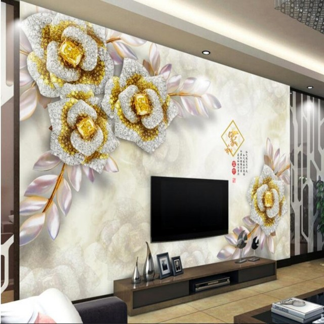 Beibehang Custom 3D Wallpaper Shiny Jinhua 3d Stereo TV Back Wall Modern Decoration Living