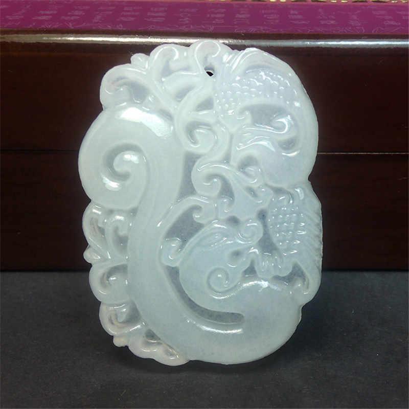Pendentif en pierre naturelle de l'afghanistan blanc Yu sculpté Dragon Phoenix femmes hommes amulette Jades bijoux pendentifs avec collier de perles