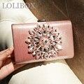 Sun flower pink cara brillante diamante cadena de bolsos crossbody de las mujeres embragues bolsos de tarde del embrague Gorgeous party Novia de La Boda