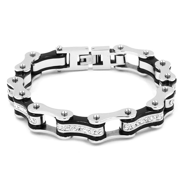 85159c6884c0f US $10.16 15% OFF|Wholesale Bling Crystal Motorcycle Bracelet Stainless  Steel Jewelry Black Silver Bicycle Chain Motor Biker Bracelet SJB0309-in  Chain ...