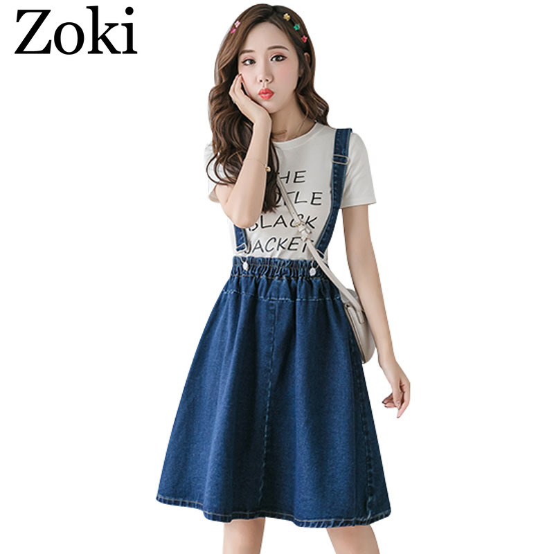 Zoki Plus Size S-4XL Women Denim Strap Skirt Elegant Summer Korean Elastic High Waist A-line Midi Skirt Jeans Faldas Mujer Moda