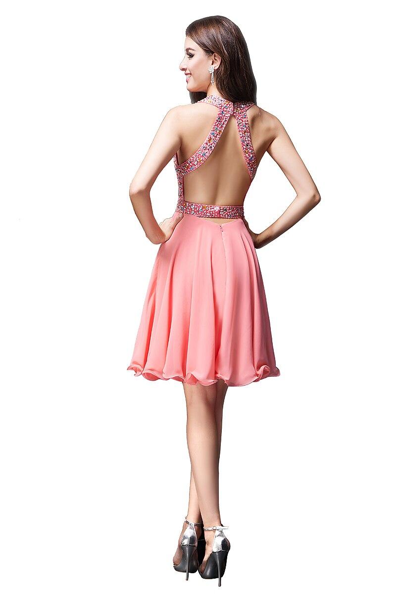 f1ce039c1 8 Grado Vestidos de Graduación Corto Coral Gasa Del Rhinestone Vestidos de Fiesta  Cortos Vestidos Para Adolescentes en Vestidos de fiesta de Bodas y eventos  ...
