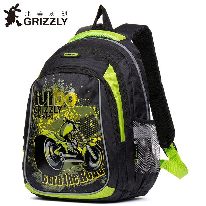 GRIZZLY Cartoon Motorcycle Boys School Bags Waterproof Orthopedic Backpacks Primary School Book Bags Grade 1-4 Kids Satchel