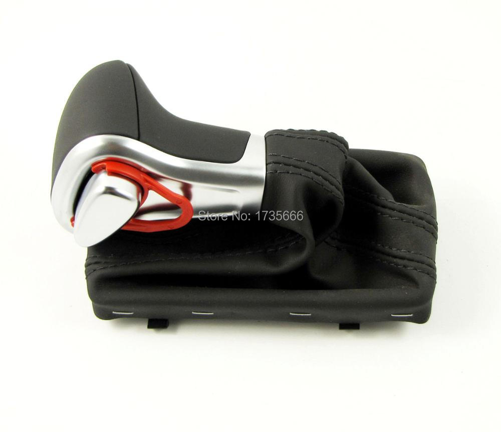 For Audi A3 A4 A5 A6 Q7 Q5 Chromed Black Gear Shift Knob Leather Gaiter Boot