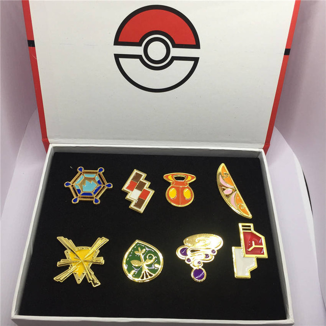 8pcs/set Pokemon Badges Kanto/Johto/Hoenn/Sinnoh/Unova/Kalos League Region Brooches with Box Pokemon Cosplay Costume Accessories