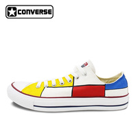 Converse Low Top Shoes Custom Hand Painted Mondrian Canvas Shoes Men Women Fashion Sneakers Gift