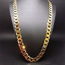Цепочка мужская из чистого золота ожерелье с покрытием 24 каратного