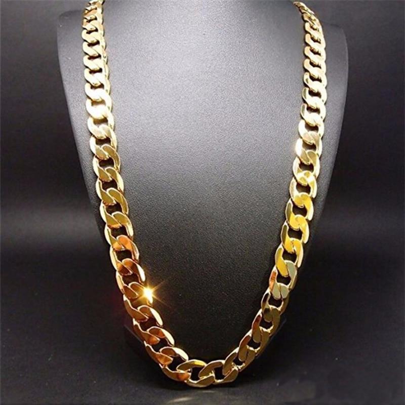 Чистый цвет золотистый Мужская цепочка ожерелье ювелирные изделия, позолоченные 24k gold 10 мм heavry ссылка цепочка на шею для мужчин 22