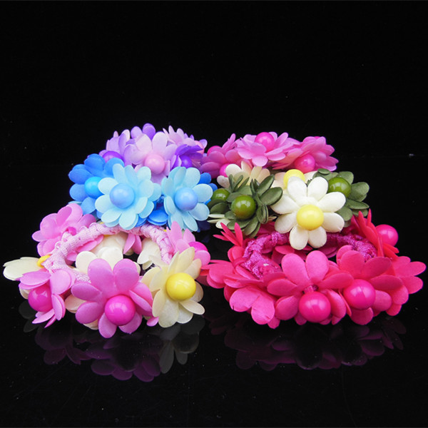 6 Pcs 6 Colors  Hair Band Rope Elastic Ponytail Holder Flower Wedding Hair Band Hair Bun Hair Accessory