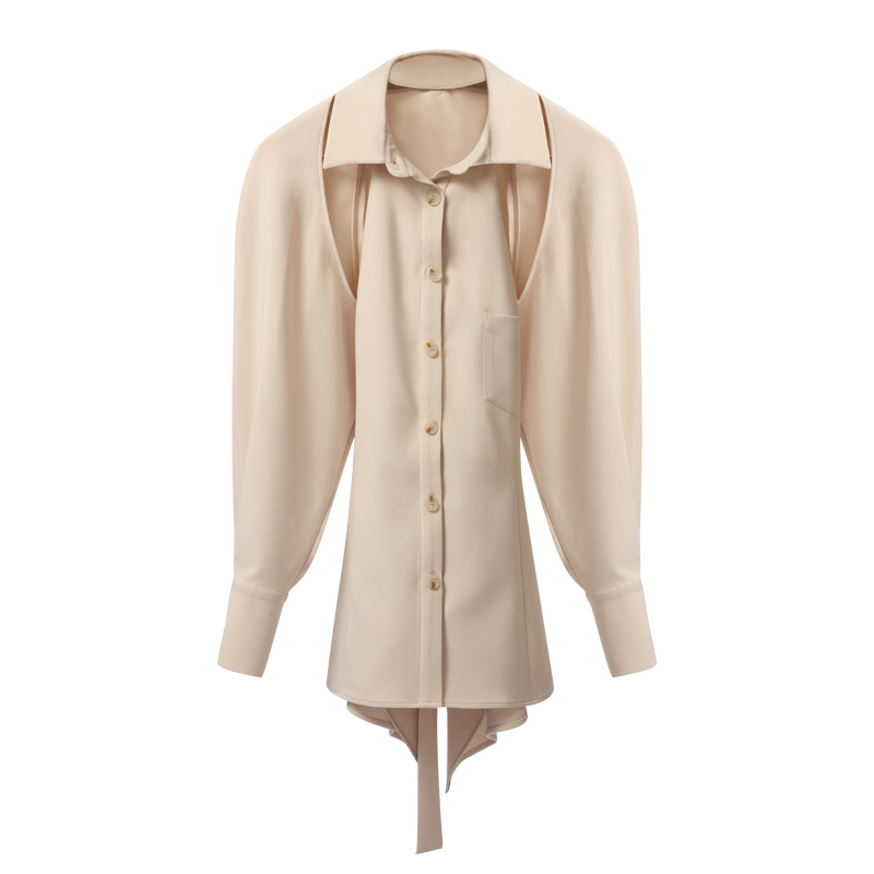 Façons Porter Getsring Amovible Nouveau Blouses Femmes Automne Pour Chemise Beige Backless Lace Up Manches Chemises 2 Tops Longues zYzwqrv