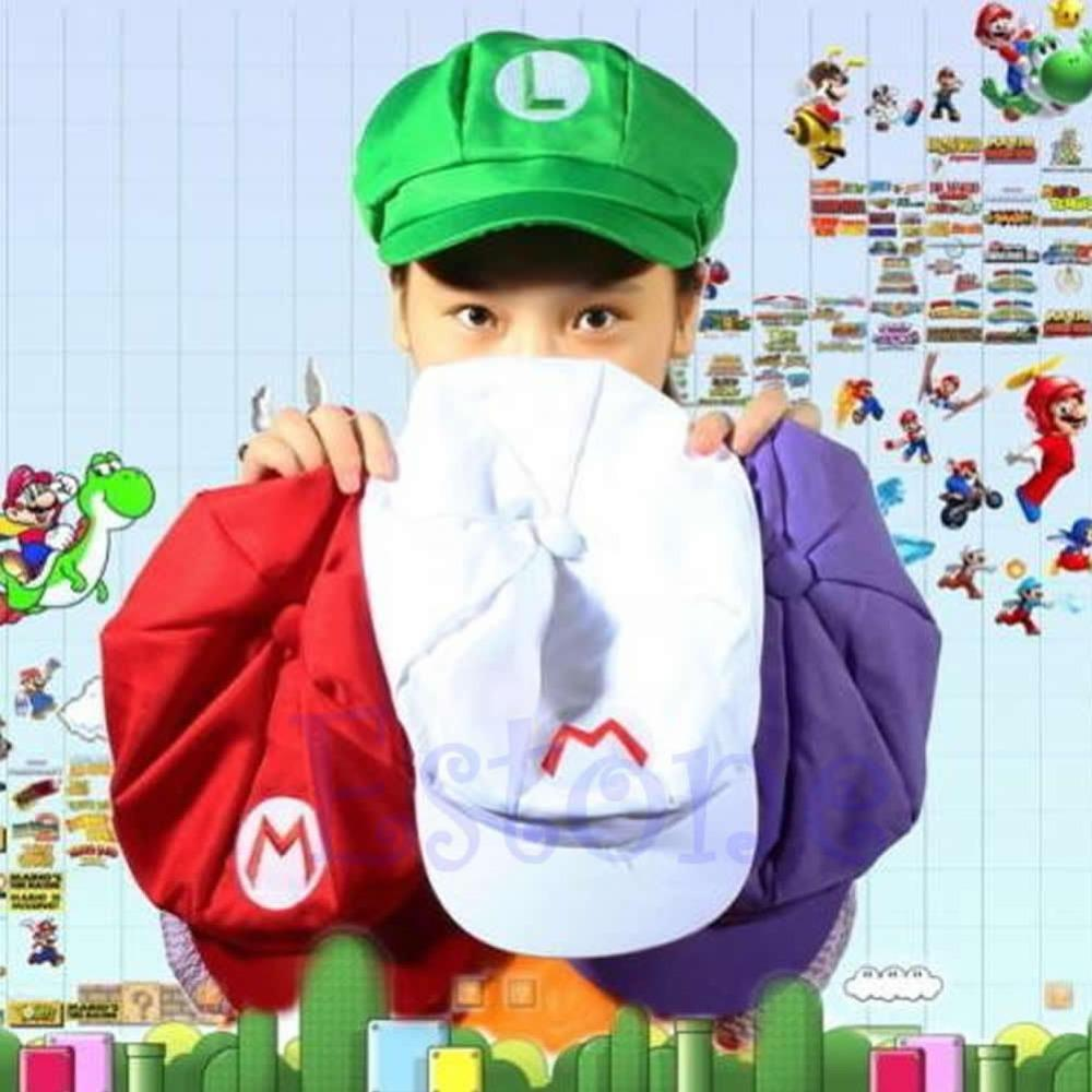 2018 Nueva Moda Super Mario Bros Tamaño Adulto Cosplay Traje de Béisbol Gorra Verde y Rojo 1 Unids Nueva moda Mujer Hombre equipado sombreros