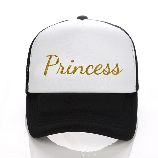 da7be9eea96 US $9.0 |DongKing Baseball Cap Princess Gold Glitter Print Trucker Caps Men  Women Polyester Mesh Summer Flat Visor Snapback Hat For Adult-in Baseball  ...