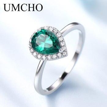 d1d5bf43c105 UMCHO Esmeralda verde de piedras preciosas anillos para las mujeres Halo  compromiso boda anillo de Plata de Ley 925 fiesta romántico joyería