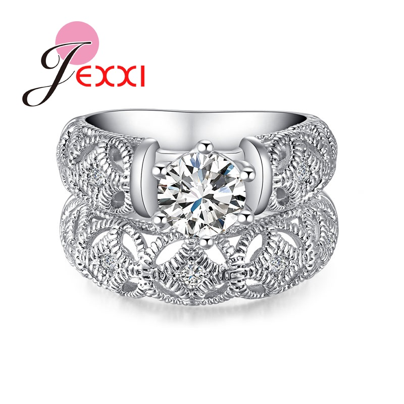 JEXXI Beautiful Christmas Gift Women Girl Wedding Engagement Rings Set 2 Pieces 925 Sterling Silver Fashion Jewelry