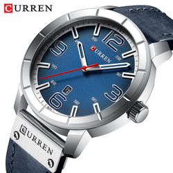 CURREN Watch Men Casual Sport Watches Top Brand Luxury Blue Leather Quartz Wristwatch Military Waterproof Male Clock For Man