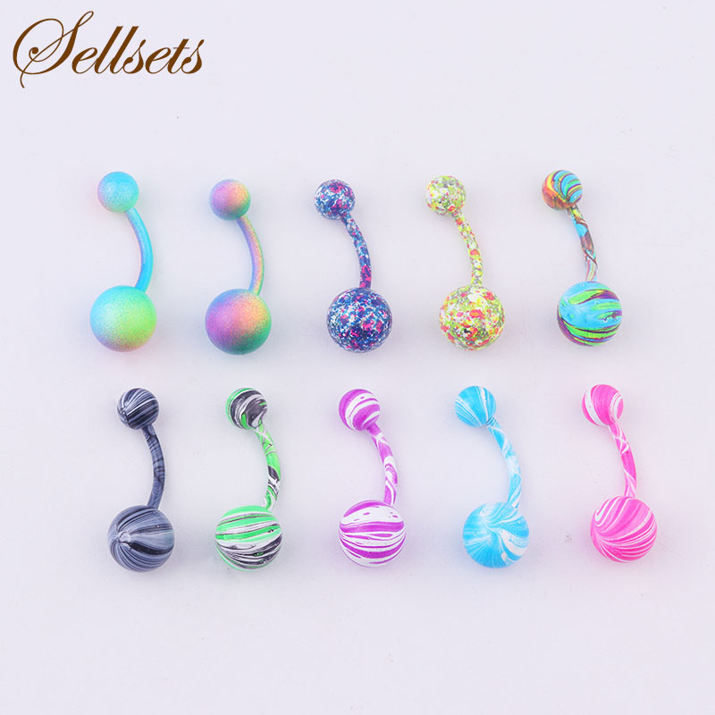 Sellsets Body Piercing Jewelry Mix 10pcs New Color Stainless Steel Navel Piercing Belly Button Rings Wholesale