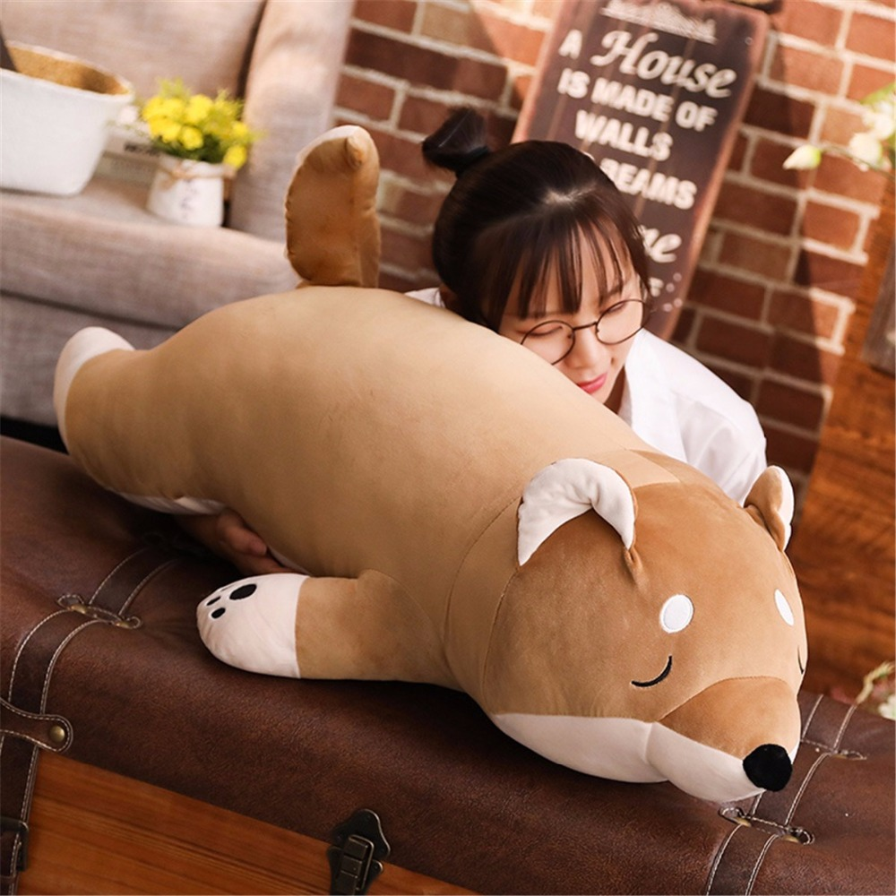 40-100cm Cartoon Lying Plush Stuffed Dog Big Toys Shiba Inu Dog Dolls Lovely Animal Children Birthday Gifts Corgi Plush Pillow