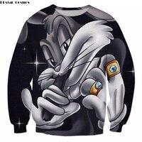 PLstar Cosmos 2018 venta Caliente Hombres Mujeres Sudaderas Funny Bugs Bunny de Dibujos Animados Cuello Redondo casual Suéteres de impresión 3d Más El tamaño S-5XL