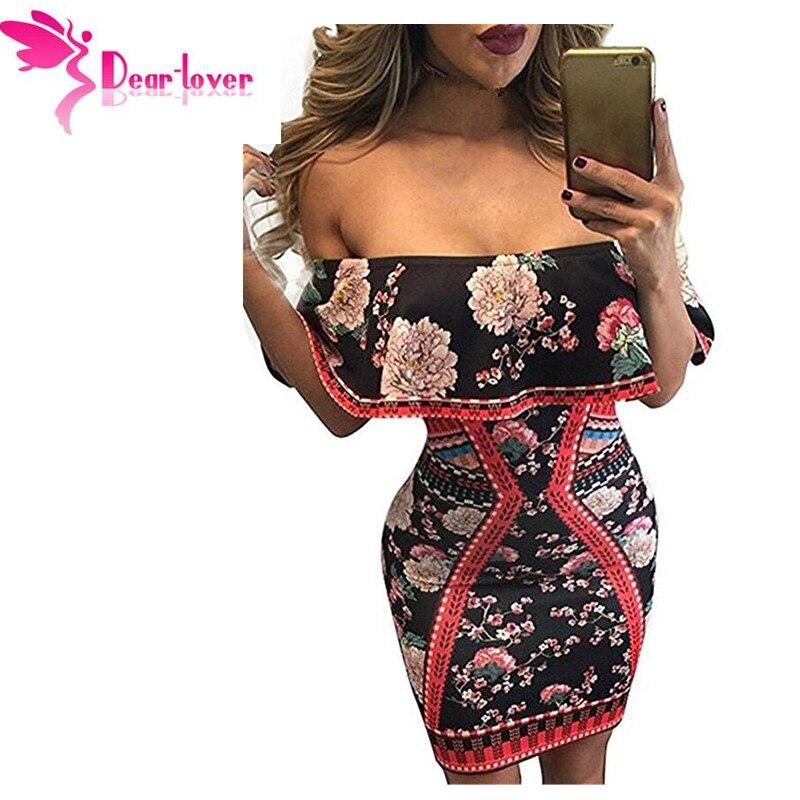 Dear Lover navidad vestidos imprimir Bodycon Night Club Oscuro Floral Ruffle Off