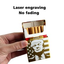 New 1PC Trump Smoking Cigarettes Aluminum Cigarette Case Cigar Pocket Storage Gift Car Ornaments(China)