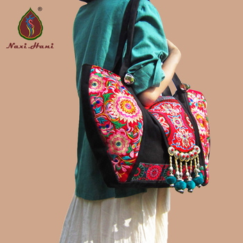 New Listing Classic red Embroidered Ethnic bags brand canvas handmade pompon women shoulder bags