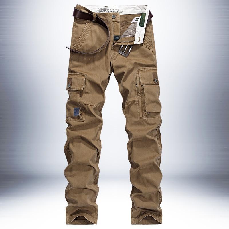 Autumn Cargo Pants Men Thick Warm Mid-waist Straight Trousers Men Cotton Breathable Men Trousers Plus Size 30-44 pantalon homme