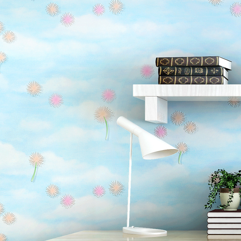 Pink flowers Wallpaper Non Woven Floral 3D Wallpapers for Bedroom Living Room Dandelion Wallpaper for Walls,papeles murales