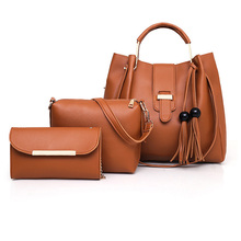 купить 3 Pcs/set Women Handbag 2018 Messenger Bags For Ladies Fashion Shoulder Bag Lady PU Leather Casual Female Shopper Tote Sac Femme по цене 1742.26 рублей