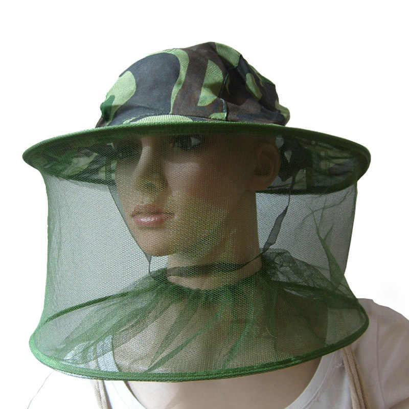 Practical Camouflage Field Jungle Mesh Face Mask Cap Mosquito Bee Bug  Insect Fishing Hat #22867