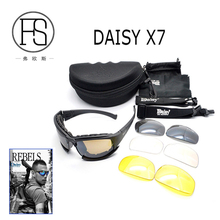 Military Outdoor Activity Use Daisy X7 Shooting Goggle War Game Polarized Sunglasses With 4 Lenses Original Box