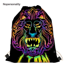 Nopersonality Neon Lion Print Drawstring Shoes Bag for Women Small Student Kids Girls Storage Backpack String Travel Bags