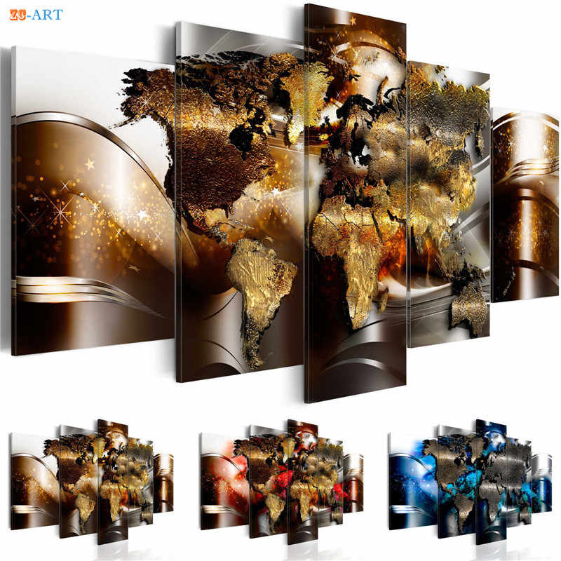 World Map Prints Poster Wall Painting 5 Pieces Modern Canvas Art Modular Pictures for Office or Living Room Home Decor