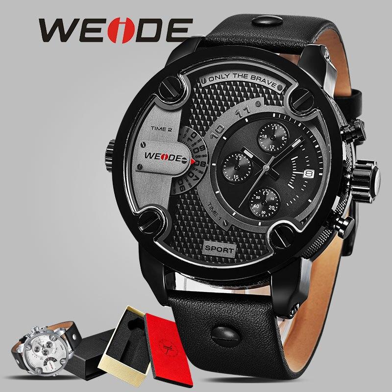 WEIDE décontracté montre de sport de cuir véritable, homme montre-bracelet horloge armée analogique montre bracelet imperméable à l'eau montres mécaniques