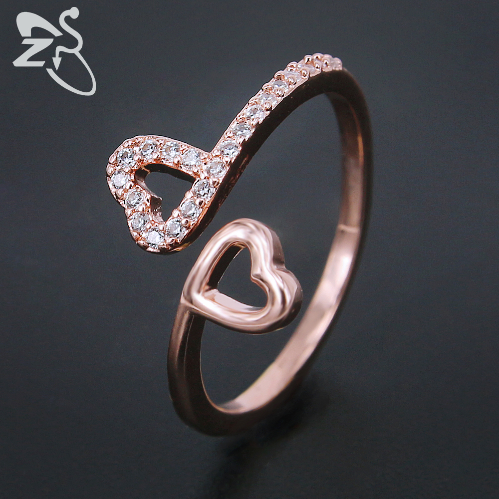 ZS Double Heart Rings Women Open Ring Girls Paved Austrian Crystal ...