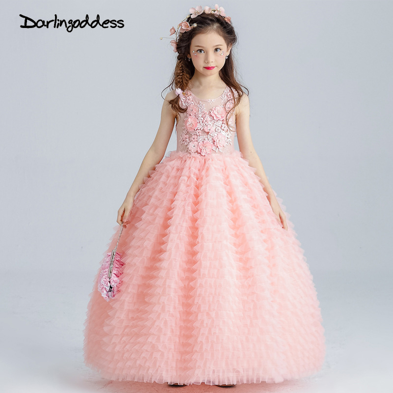 Peach Pageant   Dresses   for   Girls   Glitz Puffy   Flower     Girl     Dresses   Floor Length Ball Gown Little Kids First Communion   Dress   2017