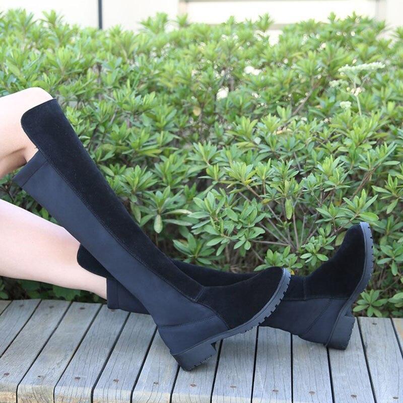Botines Nouvelles De Bottes Talons Bas Épais En Mujer Talon Daim À Black Jackbootsdx089 D'hiver Shoes 2018 Genou Chaussures Femme Femmes F1FnAr0