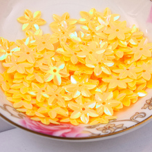 Fashion 500pcs 12mm cup six petals flower Yellow sequins Jewelry Accessories cloth crafts confetti clothing
