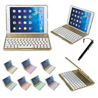 2 In 1 Wireless Bluetooth Keyboard Cover Case Fashion Thin Aluminum F8 Aluminium Colorful Backlit Light