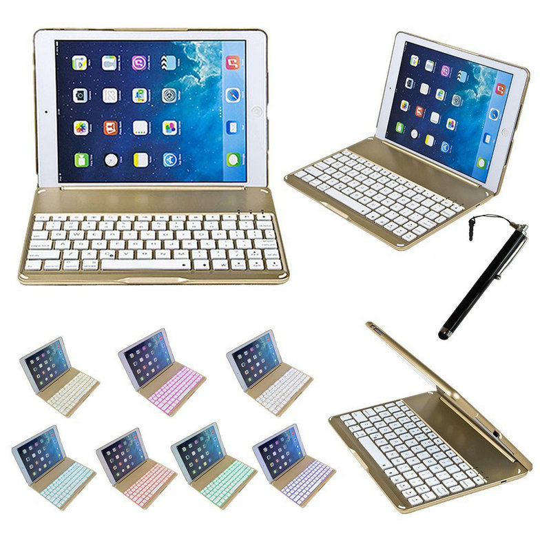 2 in 1 Wireless Bluetooth Keyboard Cover For iPad Air 5 Case 9.7inch Fashion Thin Aluminum F8 Aluminium Colorful Backlit Light for new ipad pro keyboard case 7 colorful backlit aluminum [built in stand] bluetooth keyboard case for new ipad 10 5 inch