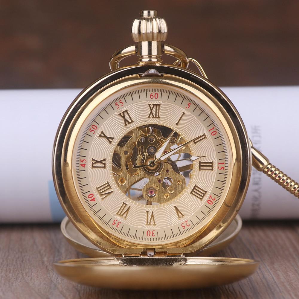 Luxury High Quality Golden Double Open Mechanical Pocket Watch Roman Number Dial Pendant Chain Men Women