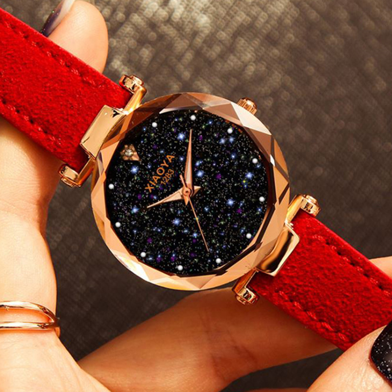 Women's Watch Feminino Relogio Luxury Quartz Crystal Starry Sky Ladies Watches Leather Strap Shine Wristwatch Bayan Kol Saati