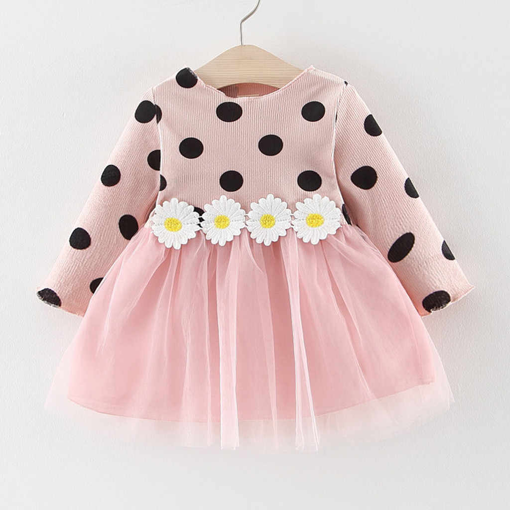 Girl Dress Toddler Kids Baby Girls Sunflower Patchwork Princess Party Dot Tulle Dress Spring Autumn Clothing for Kid 0M-24M C50#