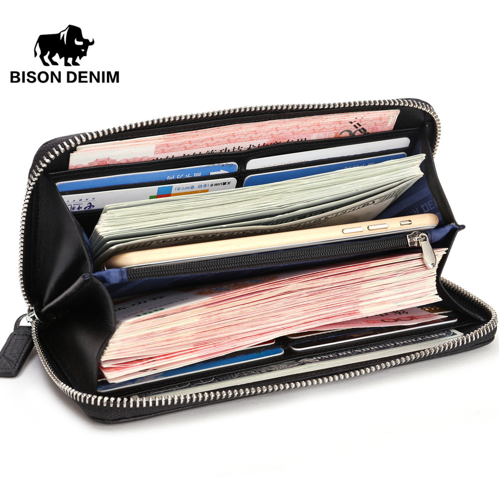 f8f3680ec19 BISON DENIM Fashion echt leer Herenportemonnee alligator patroon ...