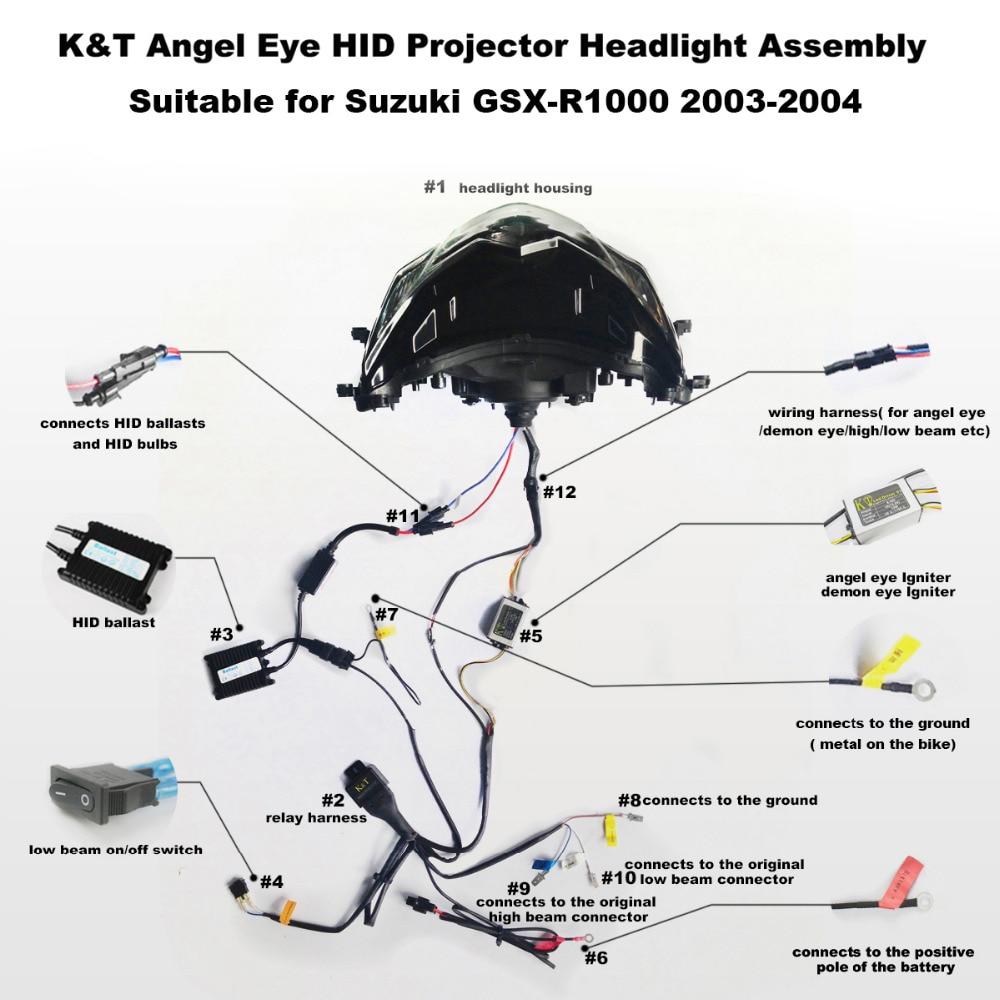 medium resolution of kt headlight for suzuki gsxr1000 gsx r1000 2003 2004 led angel eye green demon eye motorcycle