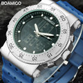 Hombres reloj deportivo de doble pantalla de cuarzo regalo militar impermeable reloj digital led relojes de hombre boamigo marca relojes de pulsera de goma