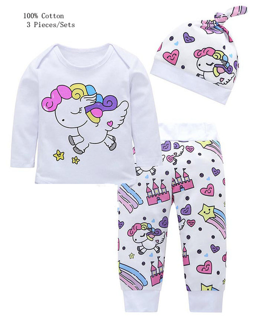59ee221274942 3 Pieces Newborn Infant Baby Girl Clothing Sets 2019 Spring Unicorn  T-shirt+Star Castle Pants+Hat Babe Bebe Girls Clothes Outfit