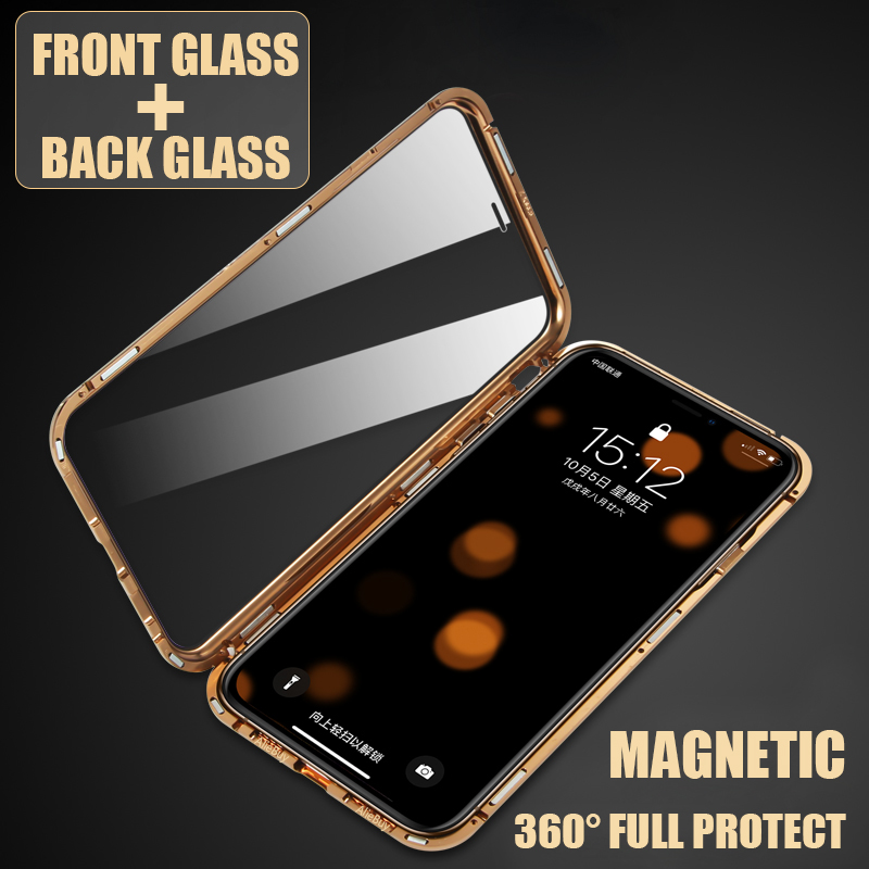 best sneakers 6b4c4 4efb1 US $10.9 30% OFF|Luxury Double sided glass Metal Magnetic Case for iPhone  XS MAX iPhone X XR 7 8 Plus Phone Case Magnet Cover 360 Full Protection-in  ...