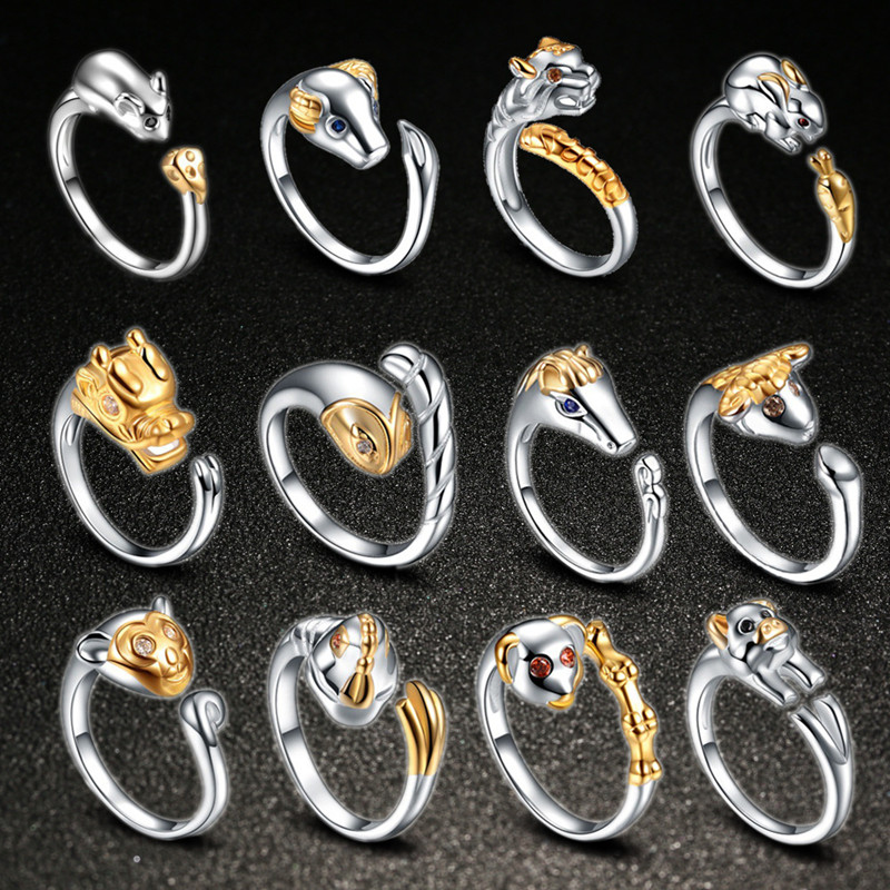TJP New Arrvial Chinese Zodiac Signs Animal Women Men Ring Jewelry Open Size Fashion 925 Silver Snake Dog Party Accessories Hot