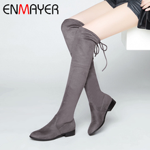 ENMAYER 2019 New Arrival Women  Flock Over-the-Knee Boots Basic Round Toe Winter Fashion Size 34-43 LY6008