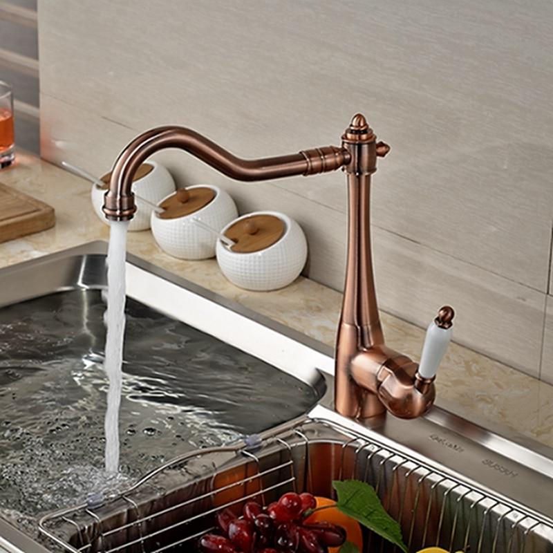 Wholesale And Retail Luxury Solid Brass Copper Kitchen Faucet Swivel Spout Vessel Sink Mixer Tap Ceramic